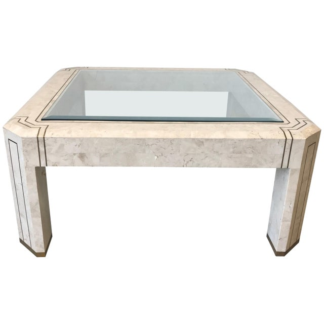 1980s Maitland-Smith Tessellated Stone and Brass Inlay Coffee Table With Glass For Sale - Image 9 of 9