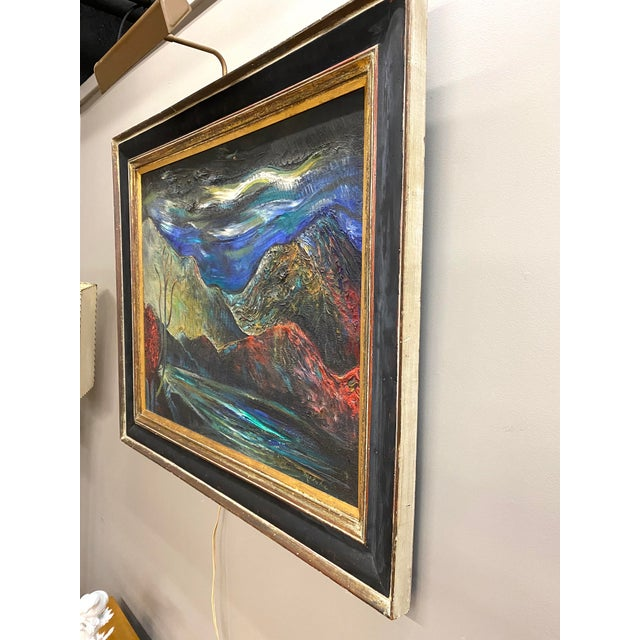 Large Vintage Oil on Canvas Signed Charles Melohs Nighttime Scene Painting Framed For Sale - Image 9 of 10