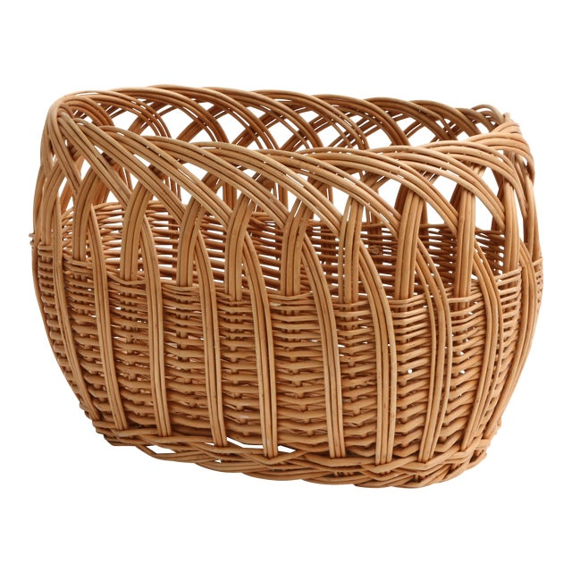 Vintage Boho Chic Wicker Magazine Rack Basket - Image 1 of 5