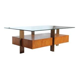1960s Modern Wood & Metal Coffee Table For Sale