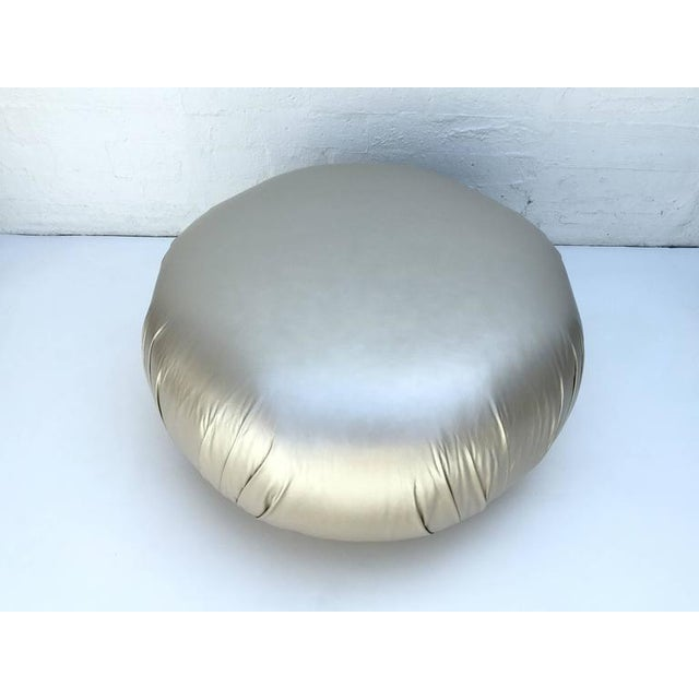 1980s Brass and Leather Ottoman by Steve Chase For Sale - Image 5 of 8
