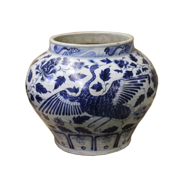 Chinese Blue White Porcelain Graphic Fat Body Vase Jar For Sale - Image 10 of 10