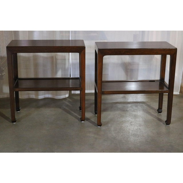 Chinese Elm Wood Side Table With Shelf - a Pair For Sale In Los Angeles - Image 6 of 6