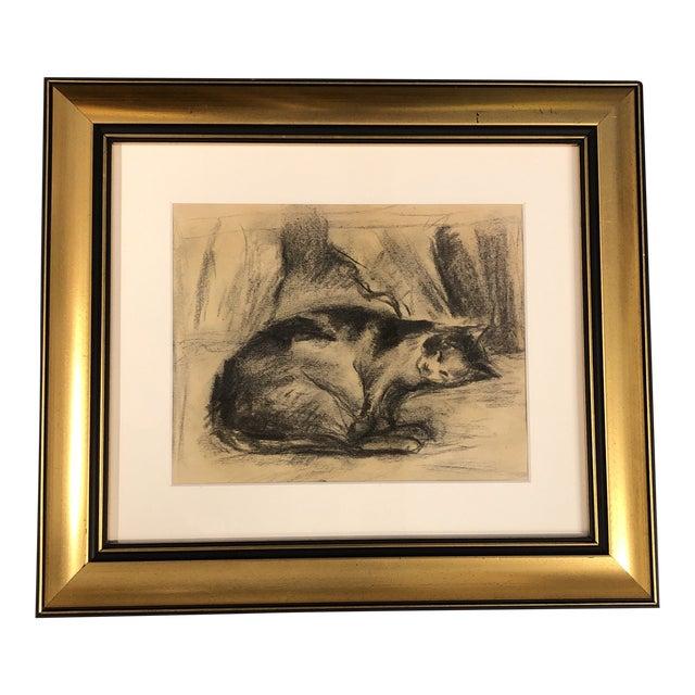 Vintage Original Charcoal Resting Cat Drawing Framed For Sale