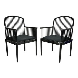 Black Lacquer Modern Andover Arm Chairs by Davis Allen for Stendig (C)-a Pair For Sale