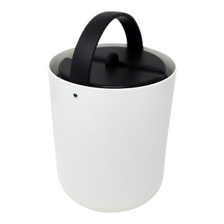 Vintage White and Black Plastic Ice Bucket by Bodum For Sale