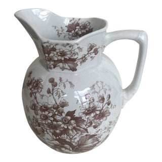 19th Century English Floral Ironstone Pitcher For Sale