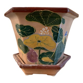 Vintage Neiman Marcus Salmon Pink and Green Lily Pad Pottery Chinoiserie Cachepot For Sale