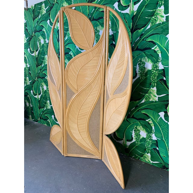 Boho Chic Tropical Rattan Room Divider Folding Screen For Sale - Image 3 of 12