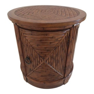 Vintage Faux Bamboo Drum Side Table With Storage