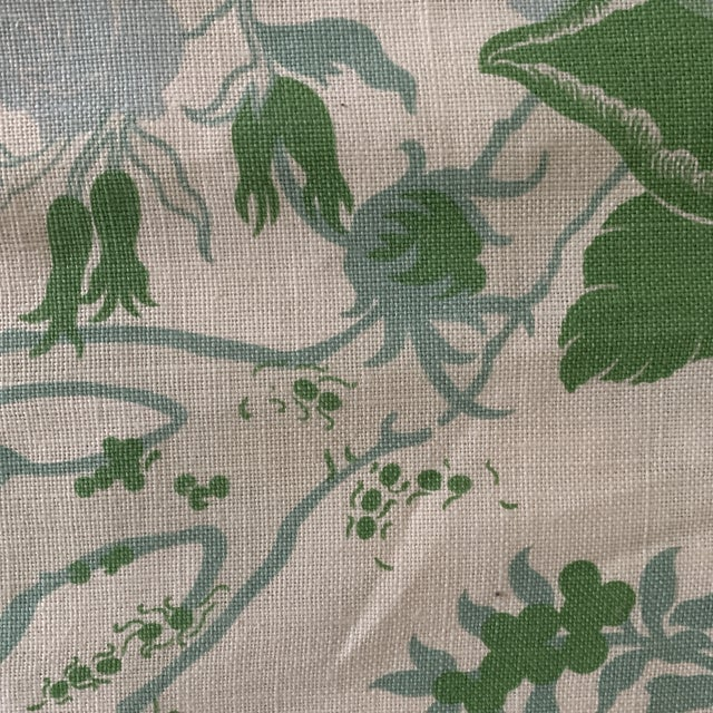 Designer Blue and Green Floral Linen Fabric For Sale - Image 4 of 6