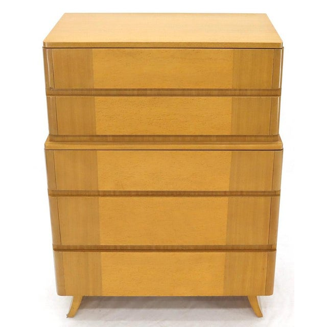 Eliel Saarinen Five Drawers Blond to Gold Mahogany Saarinen High Chest Dresser For Sale - Image 4 of 11
