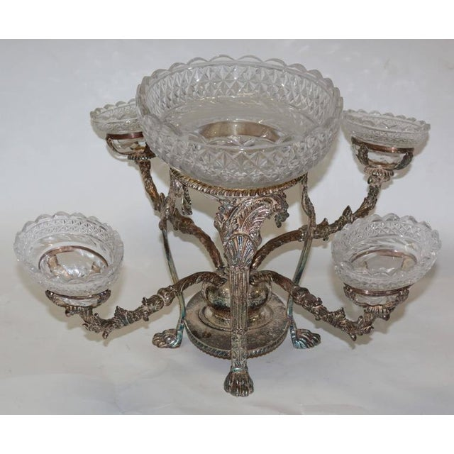 Bohemian Cut Crystal & Silver Centerpiece - Image 4 of 10
