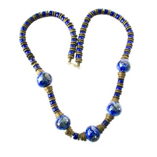 CEramic Blue and Handpainted Bead Necklace For Sale