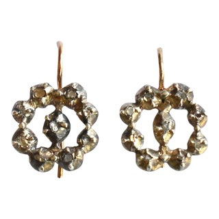 Antique Georgian Rose Cut Diamond, Gold, and Silver Earrings For Sale