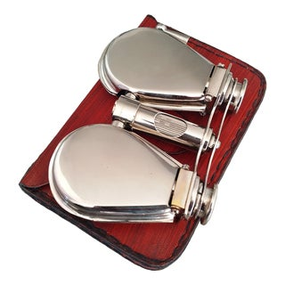 Vintage Nickel Plated Brass Folding Binoculars with Leather Case For Sale
