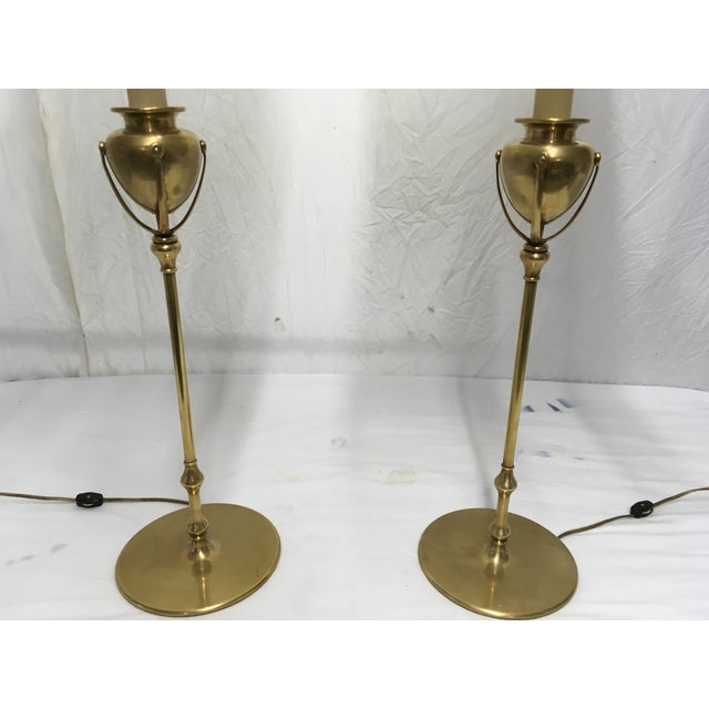 1980s Chapman Brass Modernist Style Lamps, a Pair For Sale - Image 5 of 10
