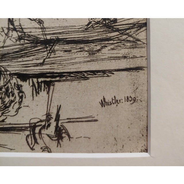 1950s Vintage Black Lion Wharf Etching on Paper by James Whistler For Sale - Image 4 of 9