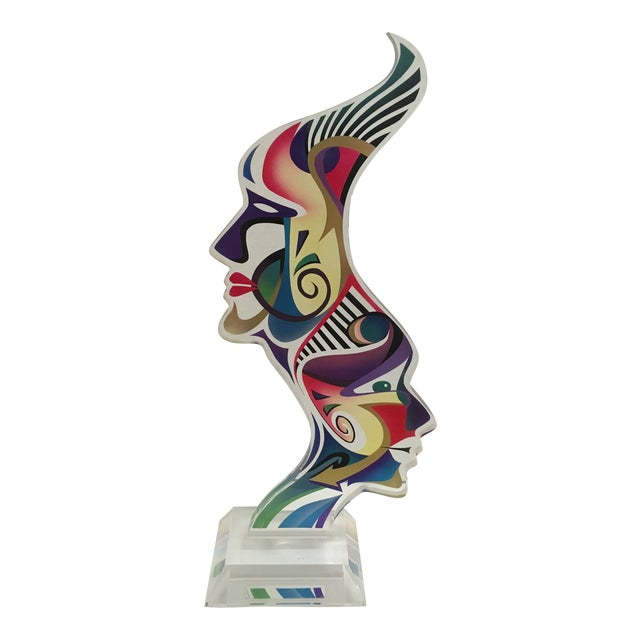 """1990's Acrylic Sculpture """"Two Faces"""" by Schlomi Haziza For Sale"""