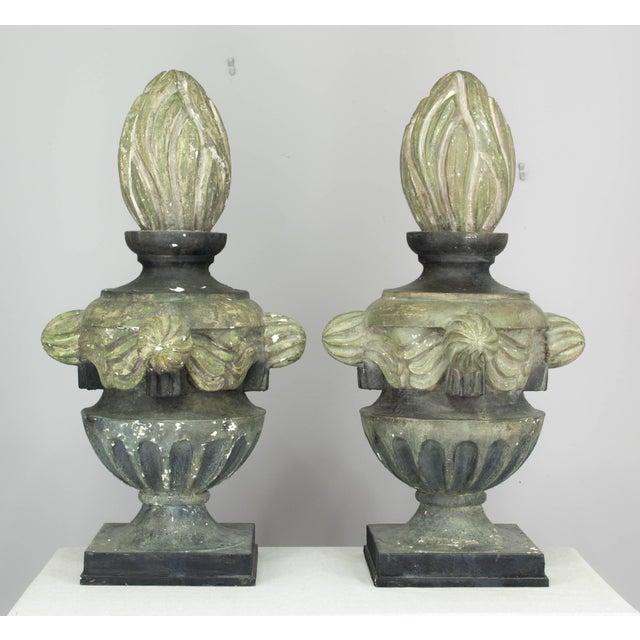 Pair of French Zinc Architectural Finials For Sale - Image 4 of 11