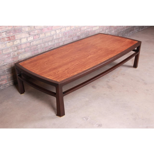 1950s Edward Wormley for Dunbar Monumental Rosewood and Walnut Coffee Table, Newly Restored For Sale - Image 5 of 13