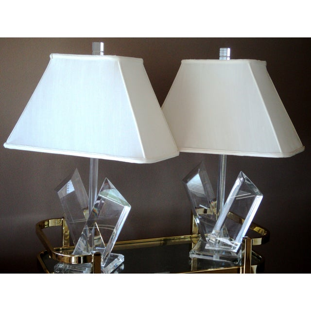 Van Teal Sculptural Lucite Lamps - A Pair - Image 7 of 7