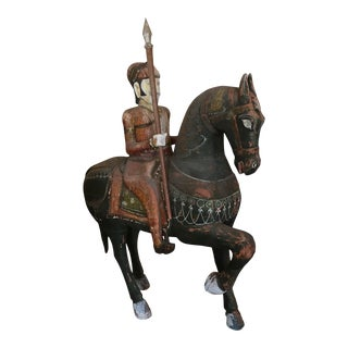 Hand Carved and Painted Man on Horse With Spear For Sale