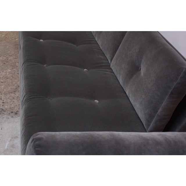 Brown Adrian Pearsall for Craft Associates 'Gondola' Sofa in Walnut and Velvet For Sale - Image 8 of 13