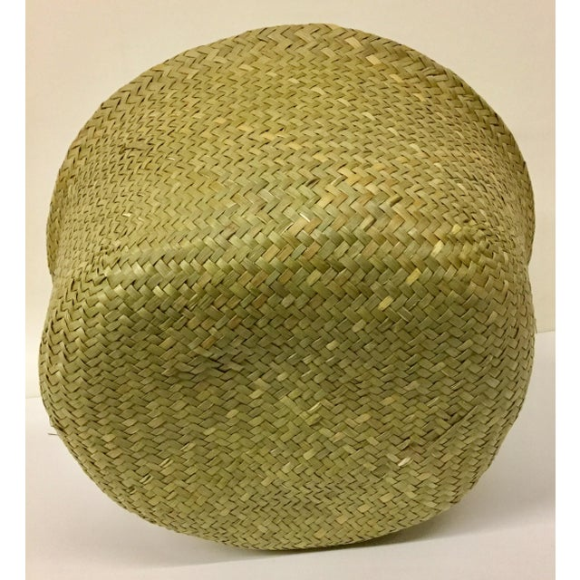 Tan Natural Straw Collapsible Basket For Sale - Image 8 of 12