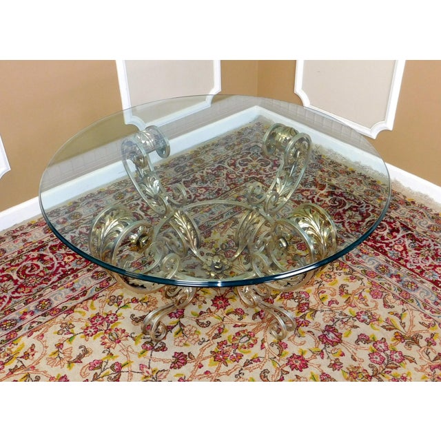 "Silver Metal And Glass Coffee Table: Silver Chrome Colored Metal Base Glass Top 42"" Diameter"