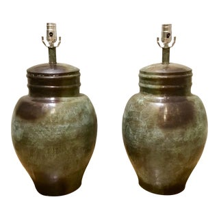 Currey & Co. Aged Asian Style Jar Lamps - A Pair