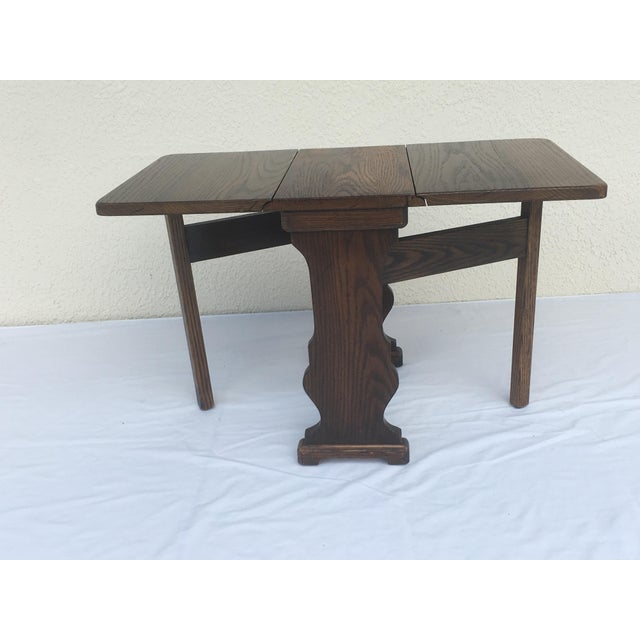 Small Petite Mini Vintage Mid-Century Wood Drop Leaf Side Table For Sale - Image 9 of 13