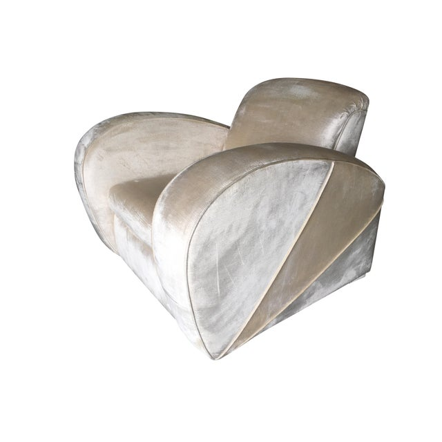 Art Deco Pearl White Mohair Jazz Club Chair W/ Speed Arms For Sale - Image 11 of 11
