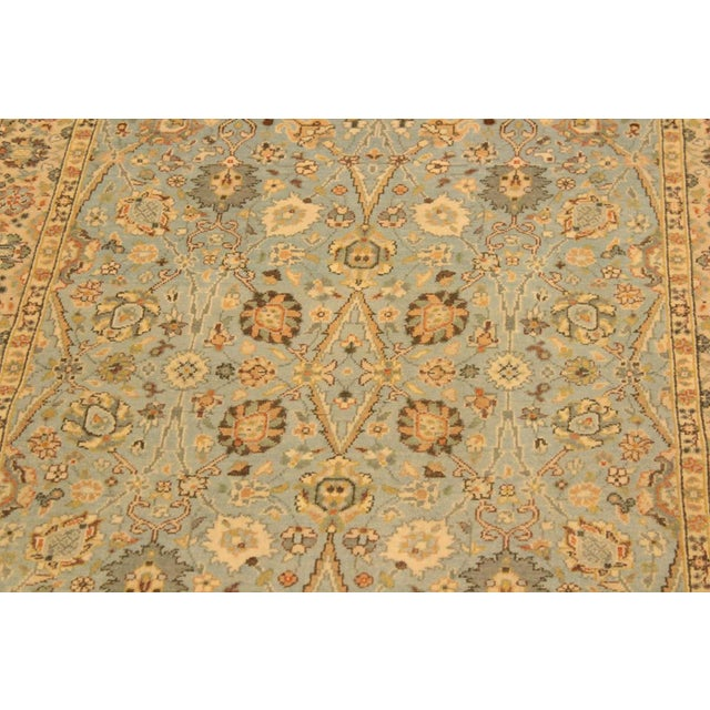 1980s Shabby Chic Istanbul Archie Blue/Ivory Turkish Hand-Knotted Rug -3'1 X 5'0 For Sale - Image 5 of 8
