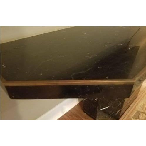 Marble With Brass Inlay Console Table - Image 7 of 9