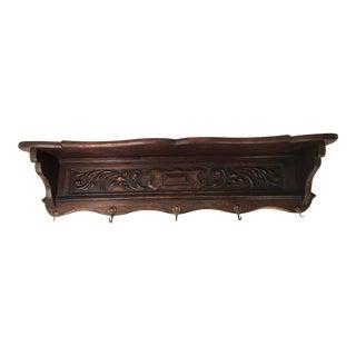 Vintage Country French Carved Oak Pot Rack Coat Rack Shelf For Sale