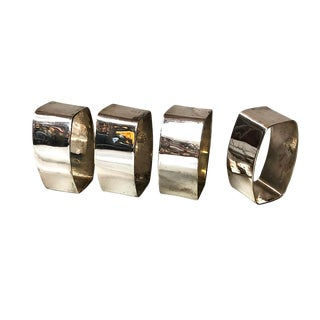 Geometric Mod Napkin Rings - Set of 4 in Box For Sale