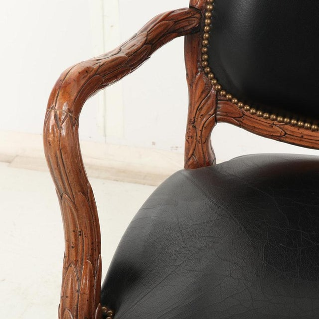 Black Vintage Mid Century Hand-Carved Italian Carved Wood Leather Bound Armchairs- A Pair For Sale - Image 8 of 13