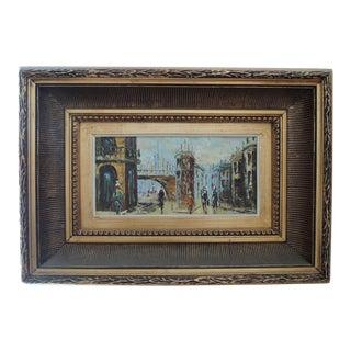 1960s Vintage Barin Paris Cityscape Street Scene Oil Painting For Sale