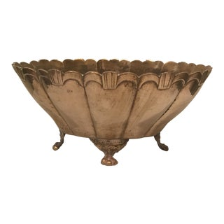 Footed Brass Cachepot For Sale