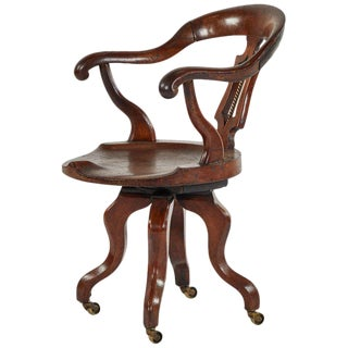 English Swivel Desk Chair in Mahogany For Sale