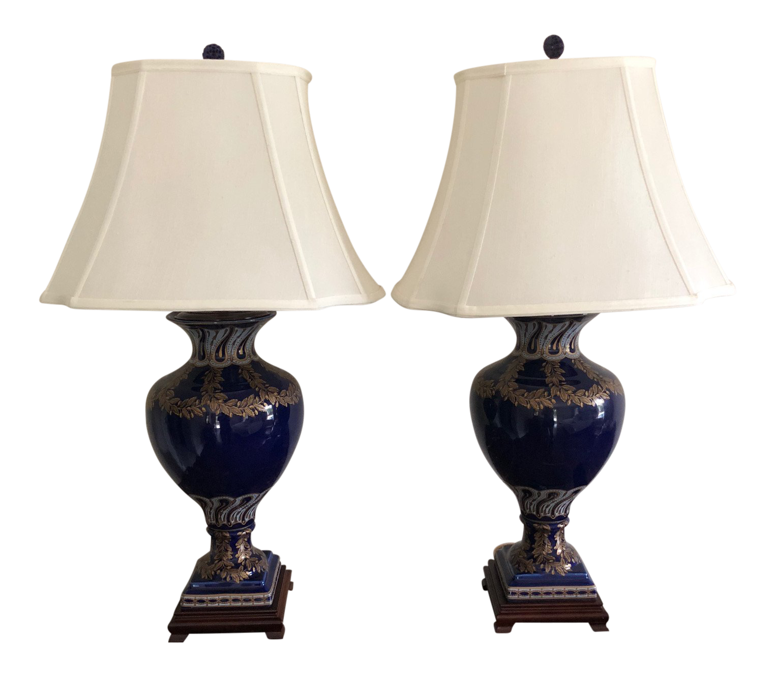 Cobalt Blue Gold Table Lamps A Pair Chairish