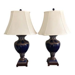 Cobalt Blue & Gold Table Lamps - A Pair For Sale