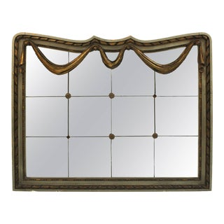 Art Deco Style Mirror with Divided Mirror Panels, Rosettes, and Swag Motif For Sale