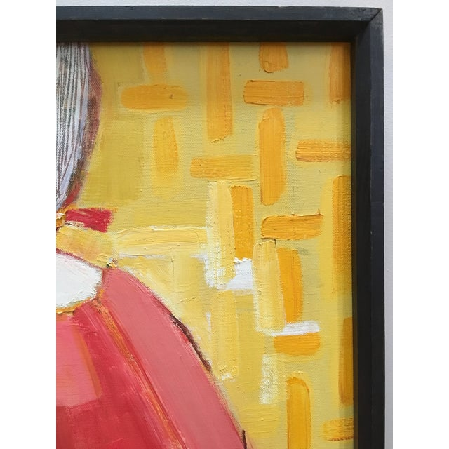Red Vintage Mid Century Cubist Abstract Oil Painting Portrait For Sale - Image 8 of 13