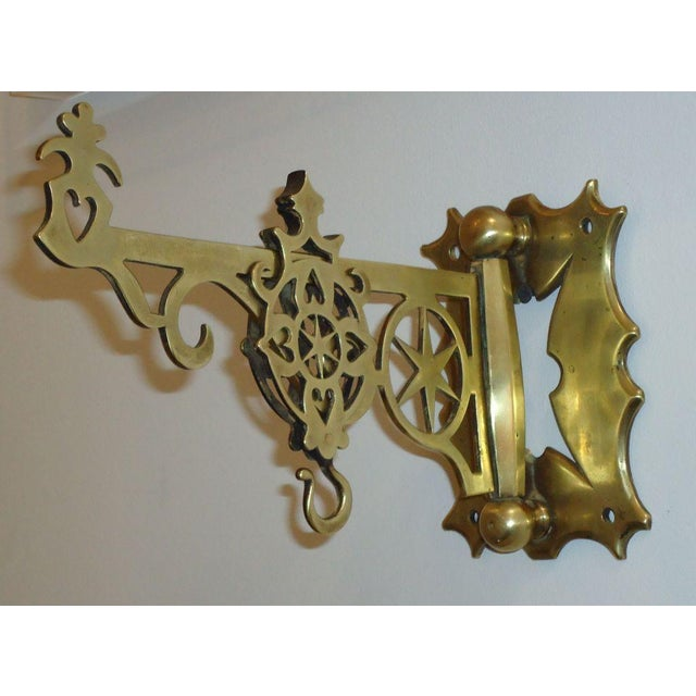 19th Century Rare New England Brass Wall Bracket with Hearts & Stars For Sale - Image 4 of 9