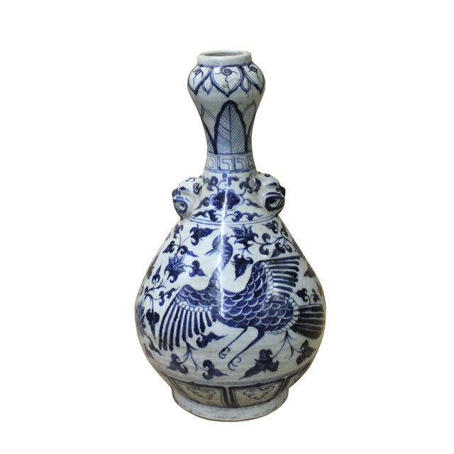 "Chinese Blue White Porcelain Suantouping ""Garlic Head Shape"" Vase For Sale - Image 9 of 9"