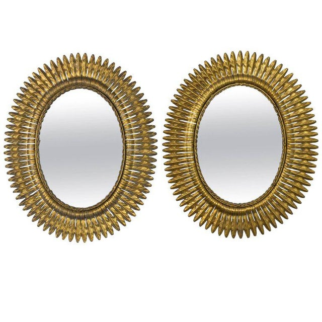 Unusual Pair of Spanish 1940s Gilt Metal Sunburst Mirrors For Sale In New York - Image 6 of 6