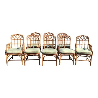 Vintage McGuire Bamboo Chippendale Chairs - Set of 8
