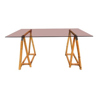 Vintage Chrome & Bamboo Sawhouse Desk / Dining Table